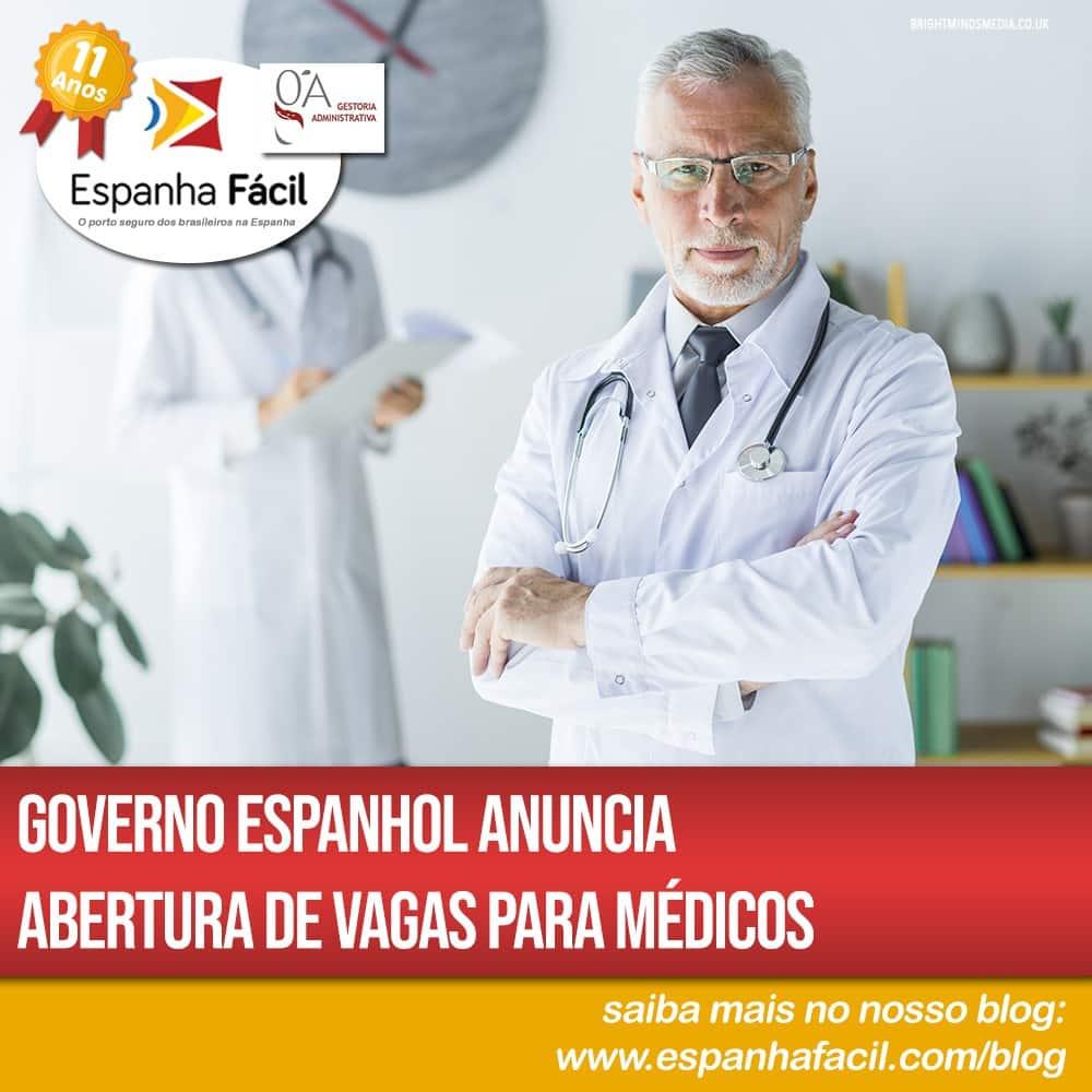 Governo espanhol anuncia abertura de vagas para médicos