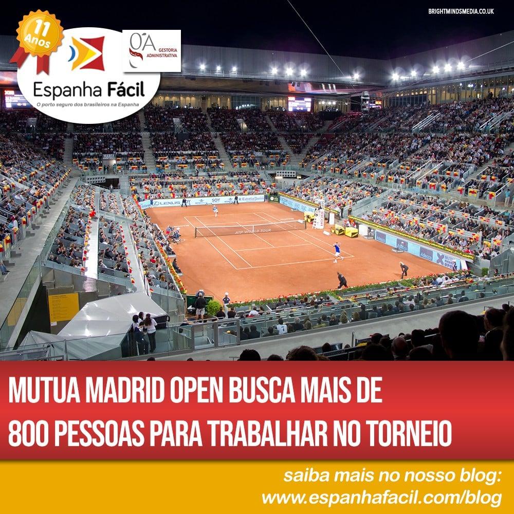 Mutua Madrid Open busca mais de 800 pessoas para trabalhar no torneio