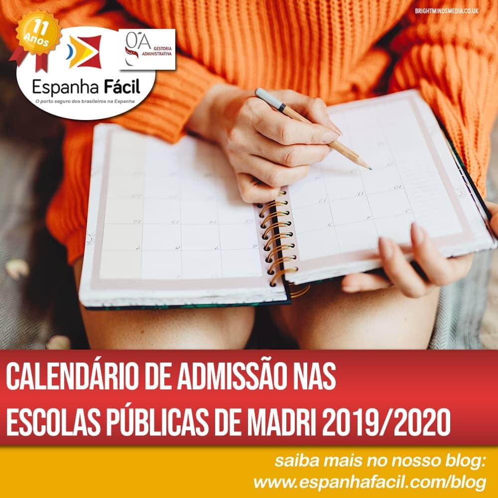 Calendário de Admissão nas Escolas Públicas de Madri 2019 2020