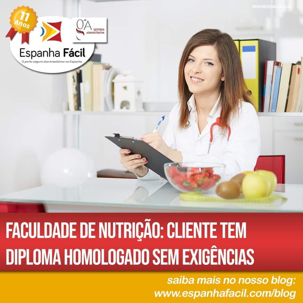 Faculdade de Nutrição Cliente tem diploma homologado sem exigências